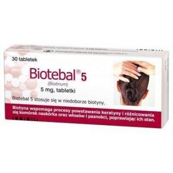 Biotebal 5 mg wzmacnia włosy, skórę i paznokcie