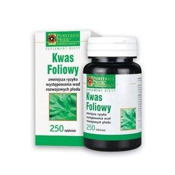 Kwas foliowy 250 tabletek korzystnie wpływa na rozwój cewy nerwowej płodu
