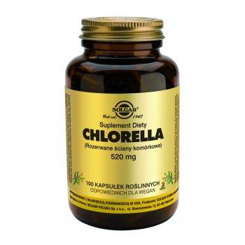 Solgar Chlorella z rozerwanymi ścianami komórkowymi