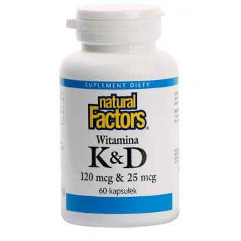 Natural Factors Witamina K2 + D3 z Natto Beans