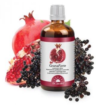 GranaForte sok z granatu i czarnego bzu wspiera układ krążenia Dr. Jacob's